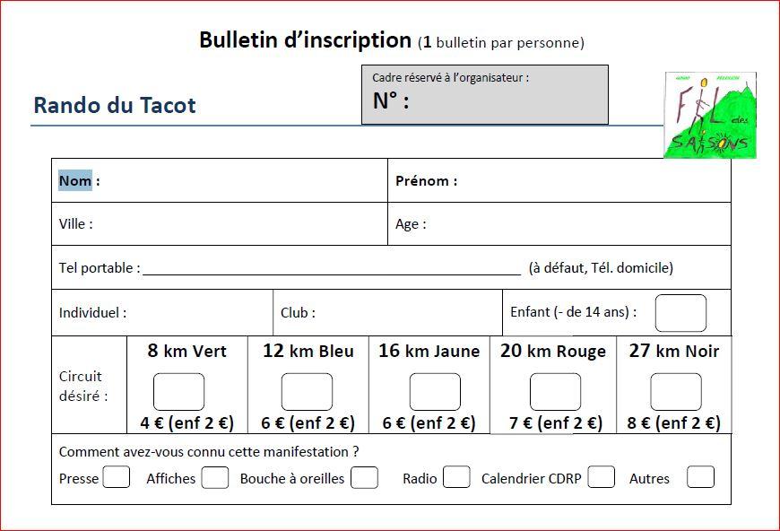Bulletin inscription tacot