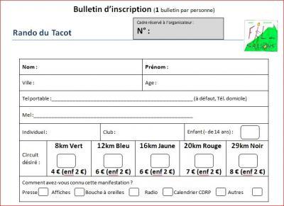 Bulletin pre inscription 2019